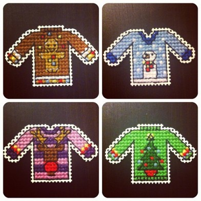cross stitched christmas jumpers