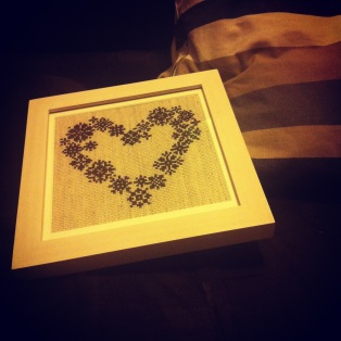 cross stitched heart gift christmas